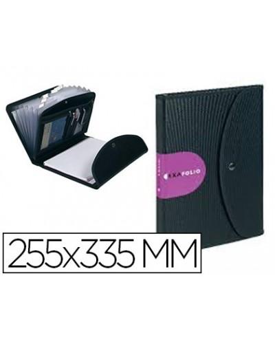 Carpeta exacompta exafolio portadocumentos polipropileno negro 6 compartimentos 255x335 mm