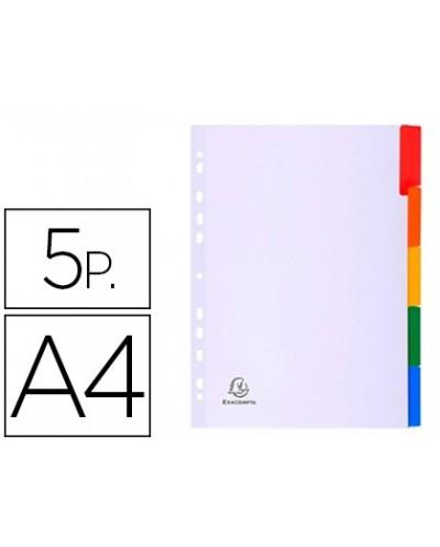 Separador exacompta cartulina blanca juego de 5 separadores pestana colores din a4 11 taladros
