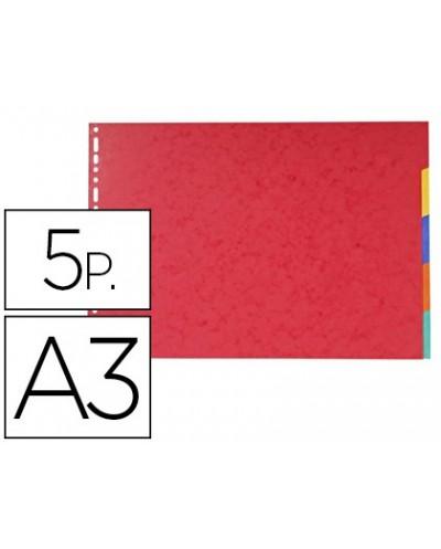 Separadores exacompta cartulina brillo juego de 5 separadores din a3 apaisado multitaladro