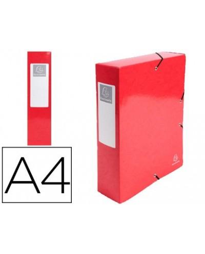 Carpeta de proyecto exacompta iderama carton lustrado plastificado din a4 lomo 80 mm rojo