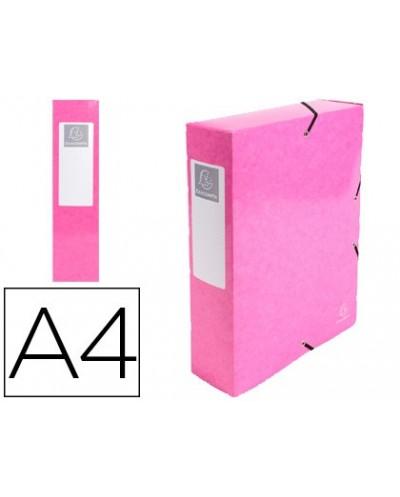 Carpeta de proyecto exacompta iderama carton lustrado plastificado din a4 lomo 80 mm rosa