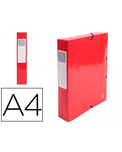 Carpeta de proyecto exacompta iderama carton lustrado plastificado din a4 lomo 60 mm rojo