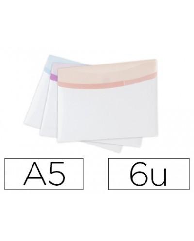 Carpeta tarifold portadocumentos color dream polipropileno din a5 velcro colores pastel pack 6 unidades