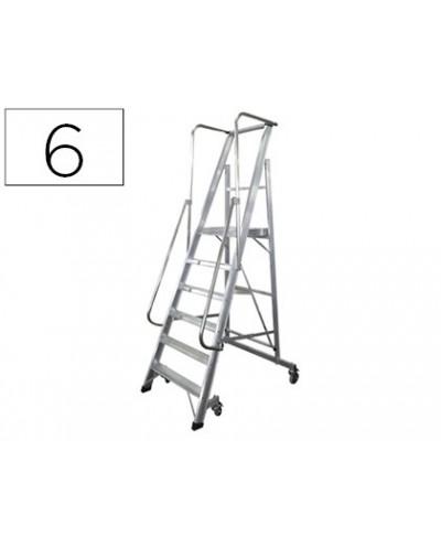 Escalera movil ktl de aluminio con plataforma y guardacuerpos plegable 6 peldanos serie 2xl s