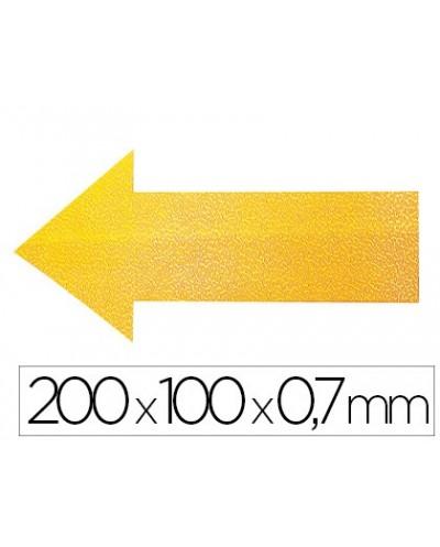 Simbolo adhesivo durable pvc forma de flecha para delimitacion suelo amarillo 200x100x07 mm pack de 10