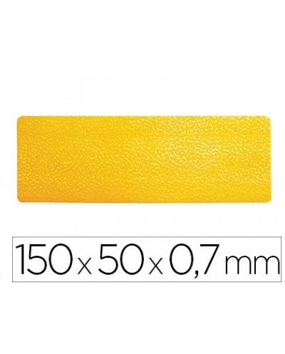 Simbolo adhesivo durable pvc forma de linea para delimitacion suelo amarillo 150x50x07 mm pack de 10