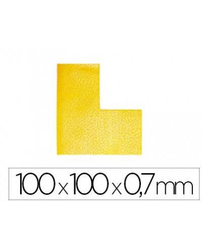 Simbolo adhesivo durable pvc forma de l para delimitacion suelo amarillo 100x100x07 mm pack de 10 unidades