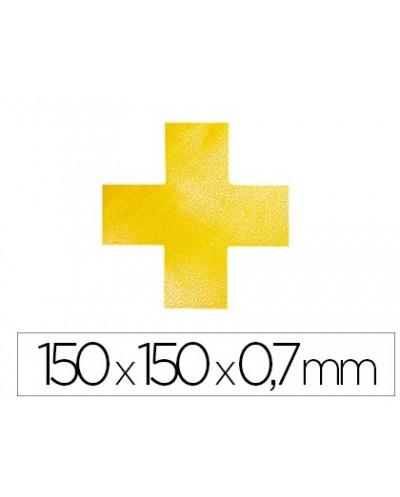 Simbolo adhesivo durable pvc forma de cruz para delimitacion suelo amarillo 150x150x07 mm pack de 10
