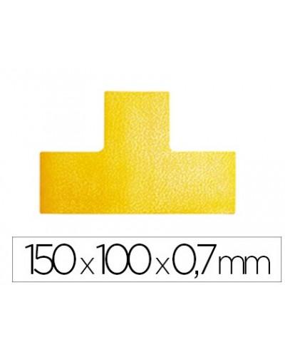 Simbolo adhesivo durable pvc forma t para delimitacion suelo amarillo 150x100x07 mm pack de 10 unidades