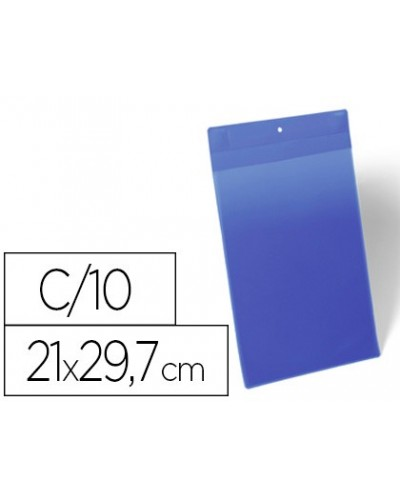 Funda durable magnetica 210x297 mm plastico azul ventana transparente pack de 10 unidades