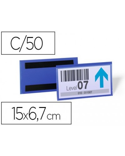 Funda durable magnetica 150x67 mm plastico azul ventana transparente pack de 50 unidades