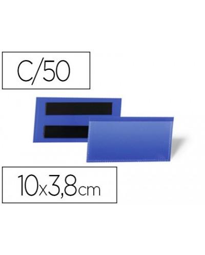 Funda durable magnetica 100x38 mm plastico azul ventana transparente pack de 50 unidades