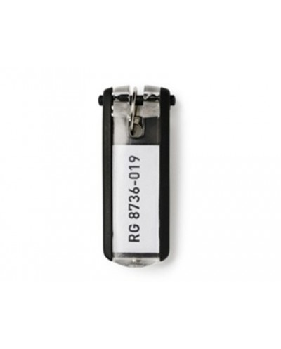 Llavero portaetiqueta durable key clip negro