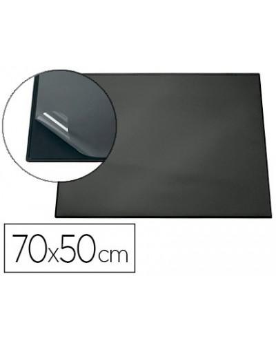 Vade sobremesa durable negro con tapa transparente 700x500 mm