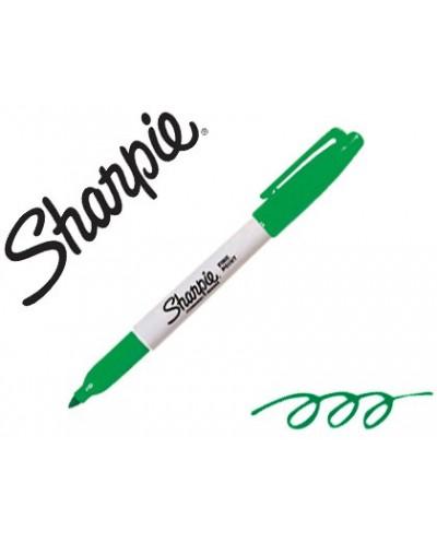 Rotulador sharpie permanente punta fina verde