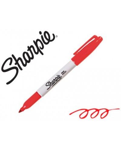 Rotulador sharpie permanente punta fina rojo