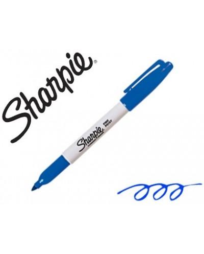 Rotulador sharpie permanente punta fina azul