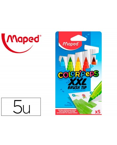 Rotulador maped color peps jumbo punta pincel caja de 5 colores surtidos