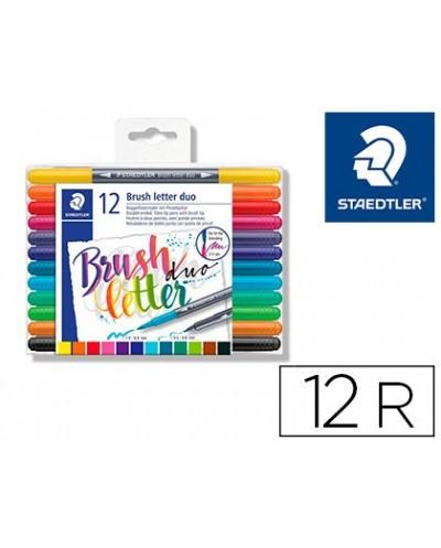 Rotulador staedtler 3004 doble punta para hand lettering estuche de 12 unidades colores surtidos