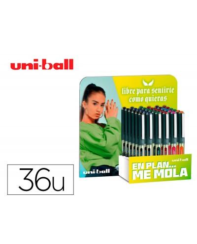 Rotulador uni ball roller ub 157 tinta liquida 07 mm expositor de 36 unidades colores surtidos promo vac