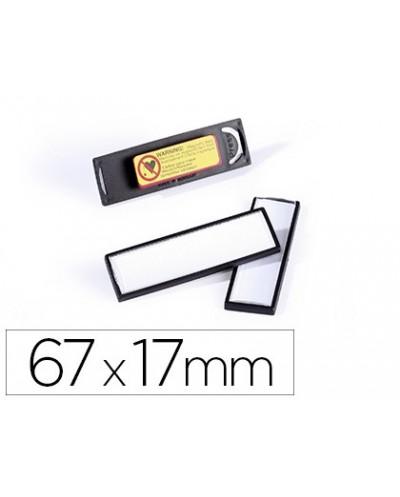 Identificador portanombre durable pvc antiaranazos con iman y efecto lupa color negro 67x17 mm