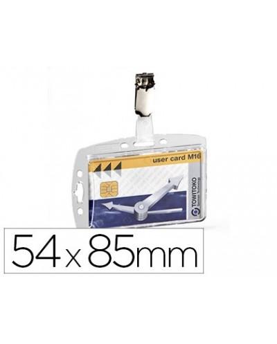 Identificador con pinza giratoria durable acrilico horizontal con unero para pases de seguridad 54x85 mm