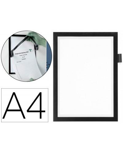 Marco porta anuncios durable magnetico din a4 con soporte boligrafo dorso adhesivo removible color negro