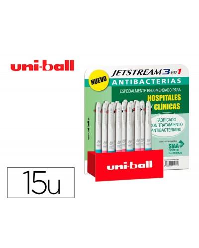 Boligrafo uni ball jetstream sport sxe3 400 3 colores antibacteriano 10 mm expositor de 15 unidades