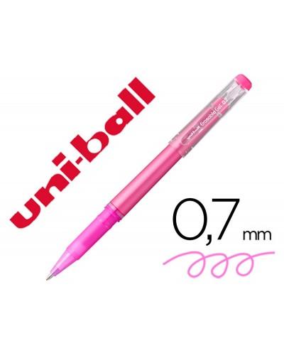 Rotulador uni ball roller uf 222 tinta gel borrable 07 mm rosa