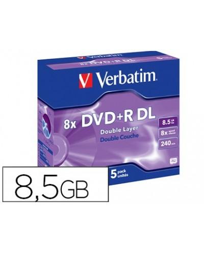 Dvdr verbatim doble capa capacidad 85gb velocidad 8x 240 min pack de 5 unidades