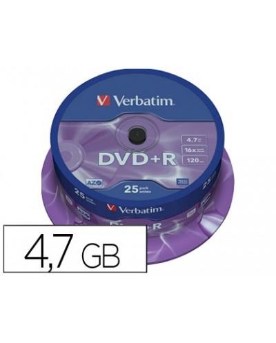 Dvdr verbatim capacidad 47gb velocidad 16x 120 min tarrina de 25 unidades