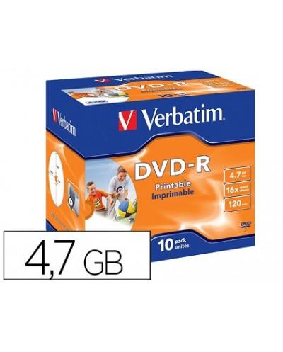 Dvd r verbatim imprimible capacidad 47gb velocidad 16x 120 min pack de 10 unidades