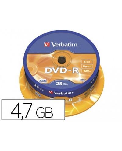 Dvd r verbatim capacidad 47gb velocidad 16x 120 min tarrina de 25 unidades