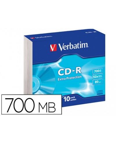 Cd rom verbatim extra proteccion capacidad 700mb velocidad 52x 80 min pack de 10 unidades caja slim