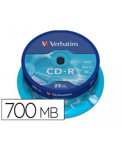 Cd r verbatim capacidad 700mb velocidad 52x 80 min tarrina de 25 unidades