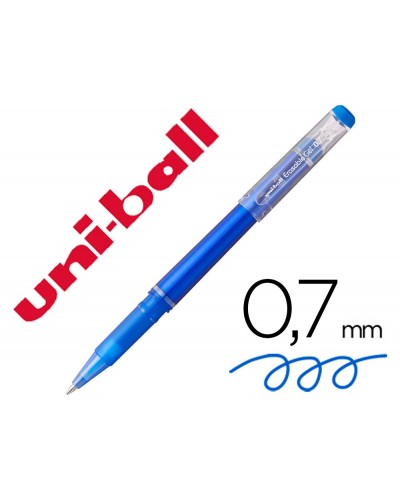 Rotulador uni ball roller uf 222 tinta gel borrable 07 mm azul