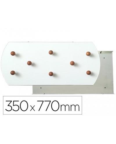 Perchero sie pared blanco 8 colgadores madera haya 350x770 mm
