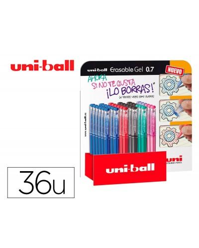Rotulador uni ball roller uf 222 tinta gel borrable 07 mm expositor de 36 unidades colores surtidos
