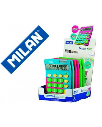 Calculadora milan mix 10 digitos expositor de 6 unidades colores surtidos