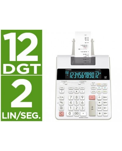 Calculadora casio impresora pantalla lc papel 58 mm impresion bicolor fr 2650rc 12 digitos dc color blanco