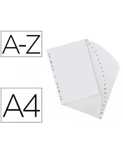 Separador alfabetico elba plastico 120 mc folio 16 taladros a z gris