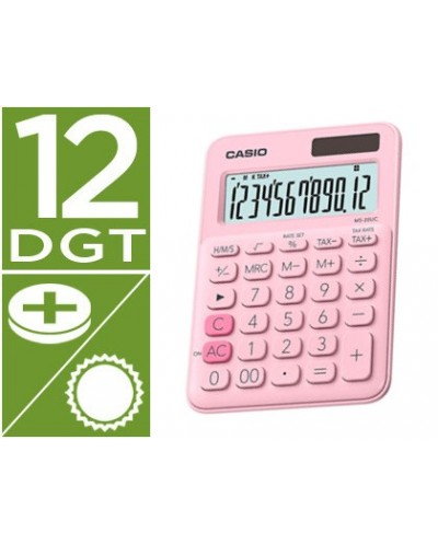 Calculadora casio ms 20uc pk sobremesa 12 digitos tax color rosa