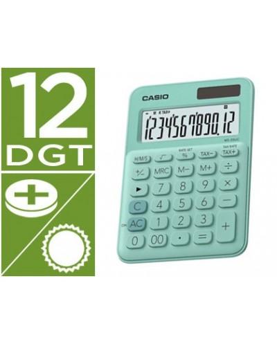 Calculadora casio ms 20uc gn sobremesa 12 digitos tax color verde