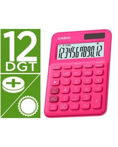 Calculadora casio ms 20uc rd sobremesa 12 digitos tax color fucsia