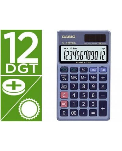 Calculadora casio sl 320ter bolsillo 12 digitos tax conversion moneda tecla doble cero color azul