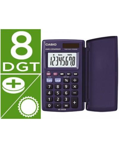 Calculadora casio hs 8ver bolsillo 8 digitos conversion moneda con tapa color azul