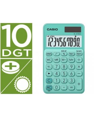Calculadora casio sl 310uc gn bolsillo 10 digitos tax tecla doble cero color verde