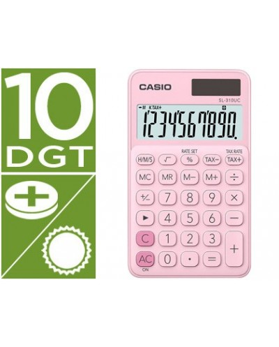 Calculadora casio sl 310uc pk bolsillo 10 digitos tax tecla doble cero color rosa