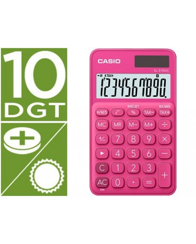 Calculadora casio sl 310uc rd bolsillo 10 digitos tax tecla doble cero color fucsia