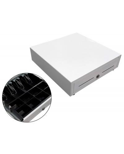 Cajon portamonedas blanco 410x415x110 8 monederos 5 billeteros con llave manual